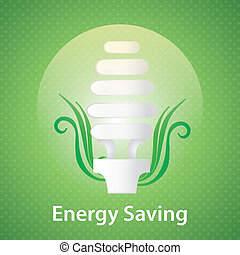 Energy Saving - Energy saving light bulb. On green...