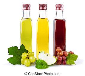 Glass bottles of vinegar - Glass bottles of three kind of...