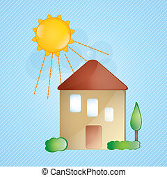 Building Icons - Sweet house, glass effect with sun on blue...
