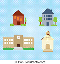 Building Icons Set (4 objets). Vector illustration