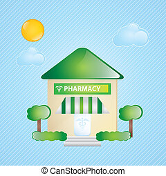 Building Icons - Building Icons, pharmacy, with windows and...