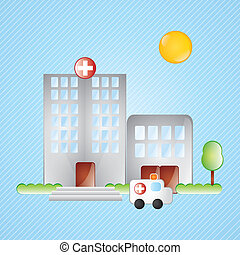Building Icons, hospital, with windows and trees on blue...