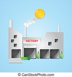 Building Icons,factory, with windows and bushes on blue...