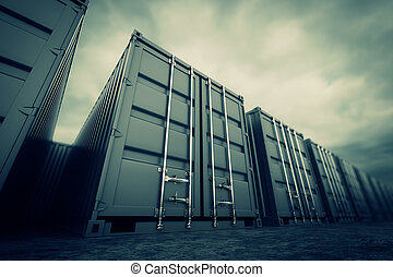 Cargo containers. - Picture of grey containers in the row.