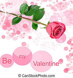 Be my valentine card with one red rose