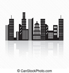 City skyline - Buildings silhouette, on white background...