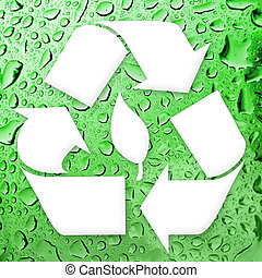 Going Green Recycling - A white recycling symbol over a...