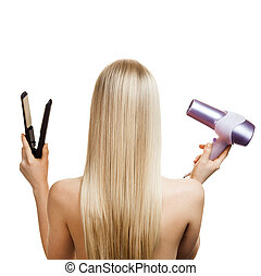 Blonde hair and hairdressers tools