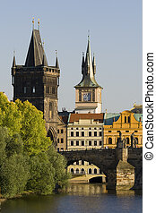 Old town bridge tower with Charles bridge in Prague