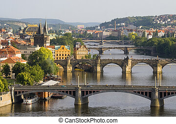 Bridges in Prague  - Aerial view on bridges in Prague