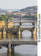 Aerial view on bridges in Prague - Aerial view on bridges in...