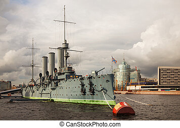 Cruiser Aurora in Saint Petersburg, Russia on a cloudy day