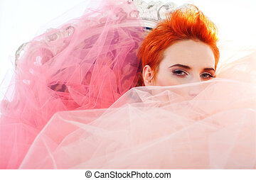 Woman in tulle - Redhead woman covered in tulle