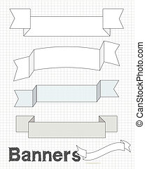 Square tech style banner set on grid - A set of hefty...