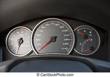 Modern Car Gauge Cluster - A closeup of a modern car...