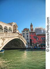 Rialto Bridge (Ponte Di Rialto) on a sunny day - VENICE -...