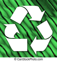 Recycle - A white recycling symbol over a green leaves...