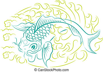 Koi Fish ornament - Beautiful vector ornament with koi fish,...