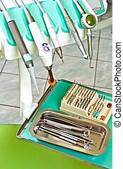 Dentist tools set with drill on rack