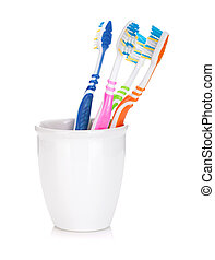 Four colorful toothbrushes Isolated on white background