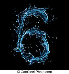"Water splashes number ""6"" isolated on black background"