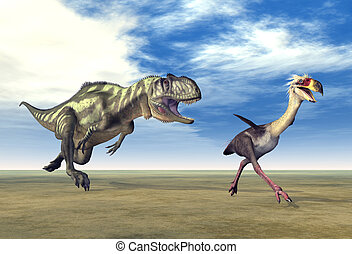 Yangchuanosaurus and Phorusrhacos - Computer generated 3D...