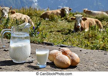 Jug of milk against herd of cows. Jungfrau region,...