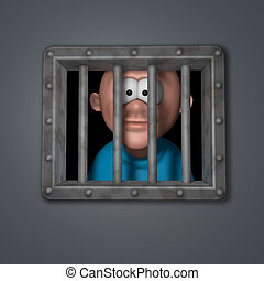 cartoon guy in prison - cartoon guy behind riveted steel...