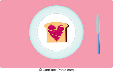 toast for breakfast - toast heart