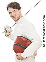 Happy fencer with rapier foil - Young smiling fencer in...