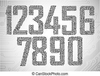 Circuit board digits - Set of Circuit board style letters