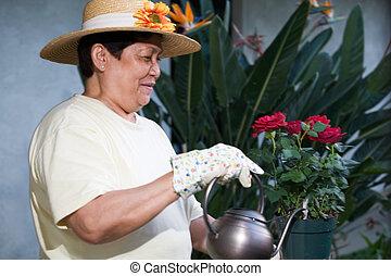 Elderly gardener