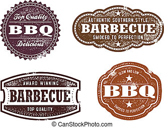 Vintage BBQ Stamps - A collection of barbecue related vector...