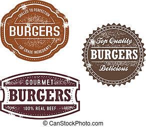 vindima, hambúrguer, selos