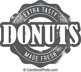 Fresh Made Donuts Bakery Stamp - Fresh bakery donuts in...