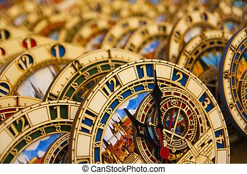 Astronomical clocks - Many small astronomical clocks.