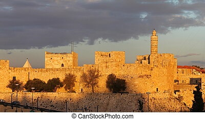 Jerusalem Old City Wall - The ancient walls of the Old City...