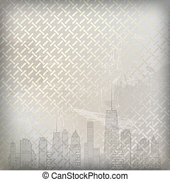 Abstract metal  background with cities silhouette. Vector illustration. EPS 10.