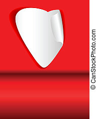 paper heart - vector paper heart on red background with copy...