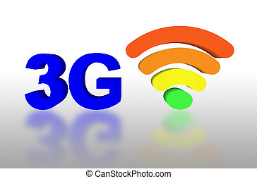 3G and signal symbol with shadow
