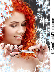 shiny hair - picture of lovely redhead with scissors and...