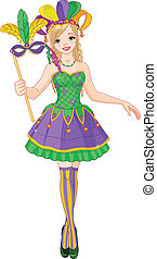 Mardi Gras girl - Illustration of beautiful Mardi Gras girl...