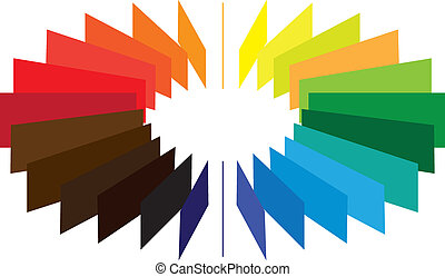 Blocks forming a color(colour) wheel/fan with brilliant, bright and vivid colors like red, orange, blue, green, etc.
