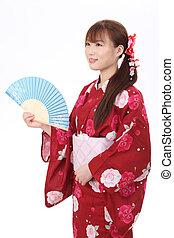 joven, asiático, mujer, kimono