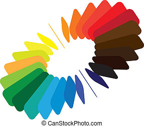 Blocks forming a color(colour) wheel/fan with smooth rounded blades and brilliant, bright and vivid colors like red, orange, blue, green, etc.