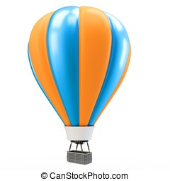 3d blue and orange balloon isolated on white