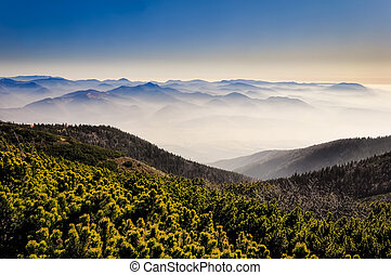 Misty mountains landscape view - Misty mountains with blue...