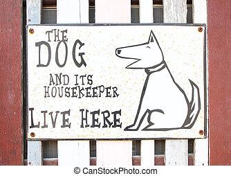 perro, casa, señal