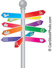 Direction Social Media Signs Illustration - Direction Signs...