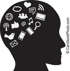 Human Head with Social Media Icons - Human Head Silhouette...